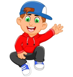 Cute little boy cartoon waving vector