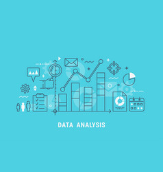 data analysis thin line vector image