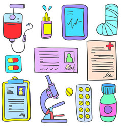 Doodle of medical element style design vector