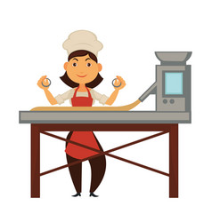 Female cook and big factory machine for dough vector