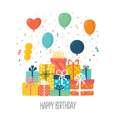 flat happy birthday festive background vector image