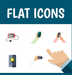 Flat icon phone set of keep phone accumulator vector