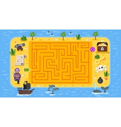 flat style of kids pirate board game vector image