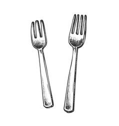 forks metallic meal kitchenware monochrome vector image