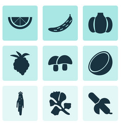Fruit icons set with gourd raspberry acorn and vector
