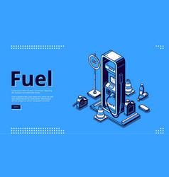 fuel petroleum fueling service isometric landing vector image