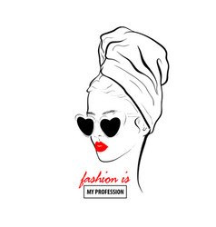 glamour woman in black sunglasses red lips vector image