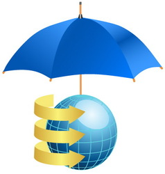 globe with arrows under umbrella vector image