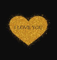 gold glitter heart on black background vector image