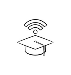 Graduation cap with network wifi sign sketch icon vector