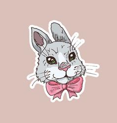 hand drawn funny rabbit sticker vector image