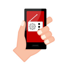 Hand holding a smartphone with a radio app vector