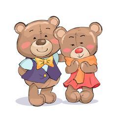 happy couple of teddy family boyfriend and girl vector image