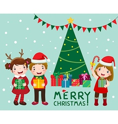 Happy cute kids with gift boxs near christmas tree vector image