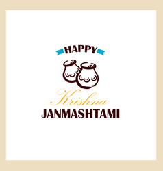 happy krishna janmashtami badge vector image