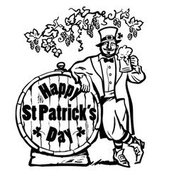 happy st patricks day poster leprechaun character vector image