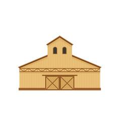 High beige barn on white vector