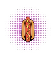 Hotdog icon in comics style vector