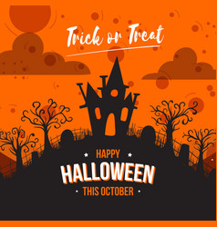 house hill flat happy halloween background vector image