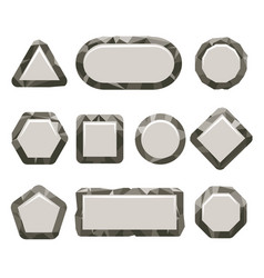 Indie game grey rock button set vector