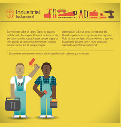 industrial workmen yellow background vector image