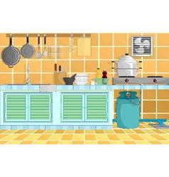 Kitchen interior background with kitchenware vector