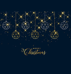 lovely christmas hanging balls sparkle background vector image
