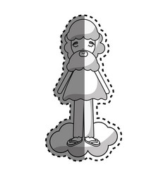 man in cloud with casual cloth and beard vector image