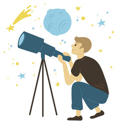 Man looking through lens astronomy hob vector