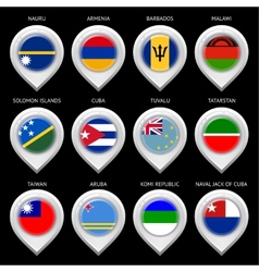 Map marker with flag-set thirteenth vector image