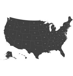 Map of usa with postal codes vector
