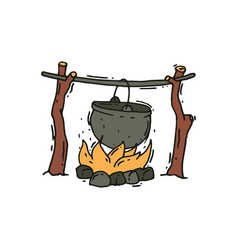 Metal pot over the campfire outdoor cooking vector