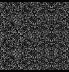Monochrome bohemian seamless floral ornament vector