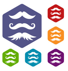 Moustaches icons set vector