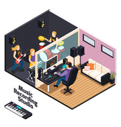 music recording studio isometric composition vector image