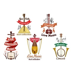 Musical instruments icons for music fest concert vector