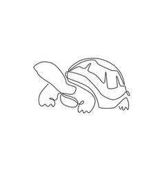 One single line drawing big land tortoise vector