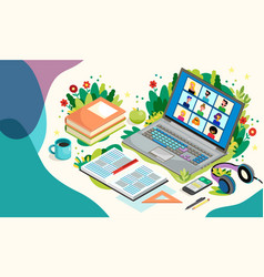 online education with laptop and pupils distance vector image