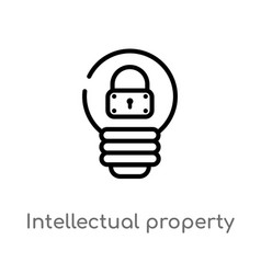 Outline intellectual property icon isolated black vector