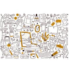 Painting doodle set vector
