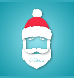 paper cut santa claus isolated on blue background vector image