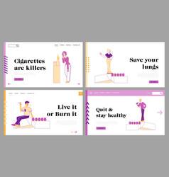 passive smoking social problem landing page vector image