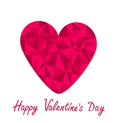 Pink heart Polygonal Happy Valentines Day vector image