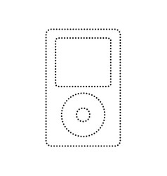 Portable music device black dotted icon vector