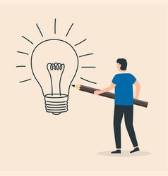 Process creating an idea man use pencil vector