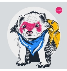 Raccoon traveler backpack outline vector