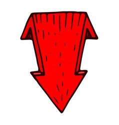 red down arrow hand drawn sketch vector image