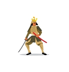 Samurai Warrior With Katana Sword sign vector