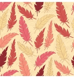 Seamless background vintage colored feathers vector