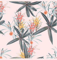 seamless pattern orange protea flowers vector image